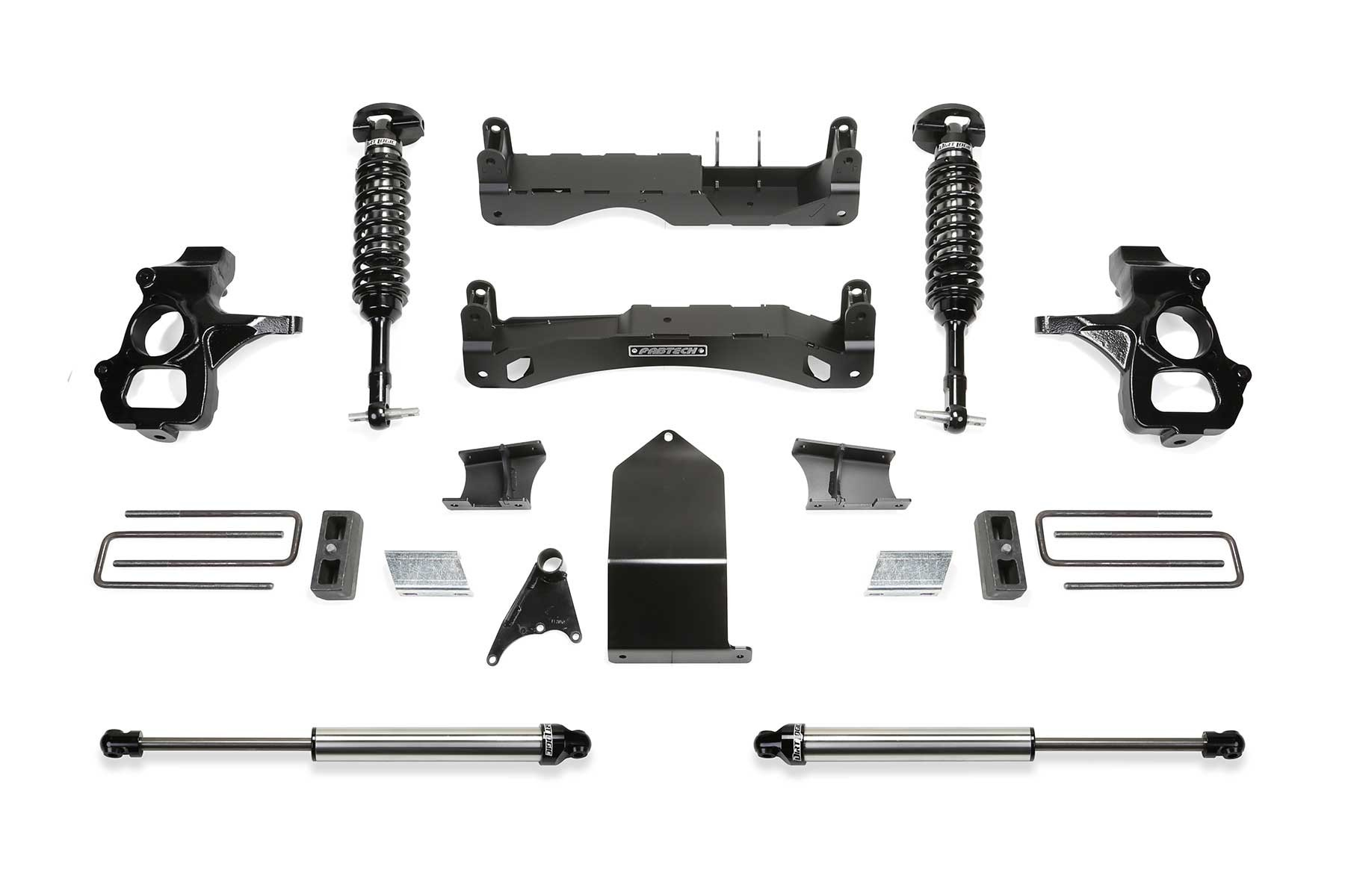 FABTECH 2007-18 GM C/K1500- 4″ PERFORMANCE SYSTEM W/ FRONT DIRT LOGIC 2.5 COILOVERS & REAR DIRT LOGIC 2.25 SHOCKS