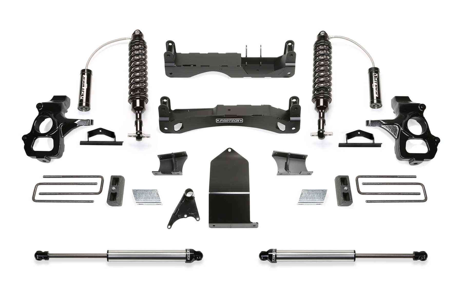 FABTECH 2007-18 GM C/K1500- 4″ PERFORMANCE SYSTEM W/ FRONT DIRT LOGIC 2.5 RESI COILOVERS & REAR DIRT LOGIC 2.25 SHOCKS