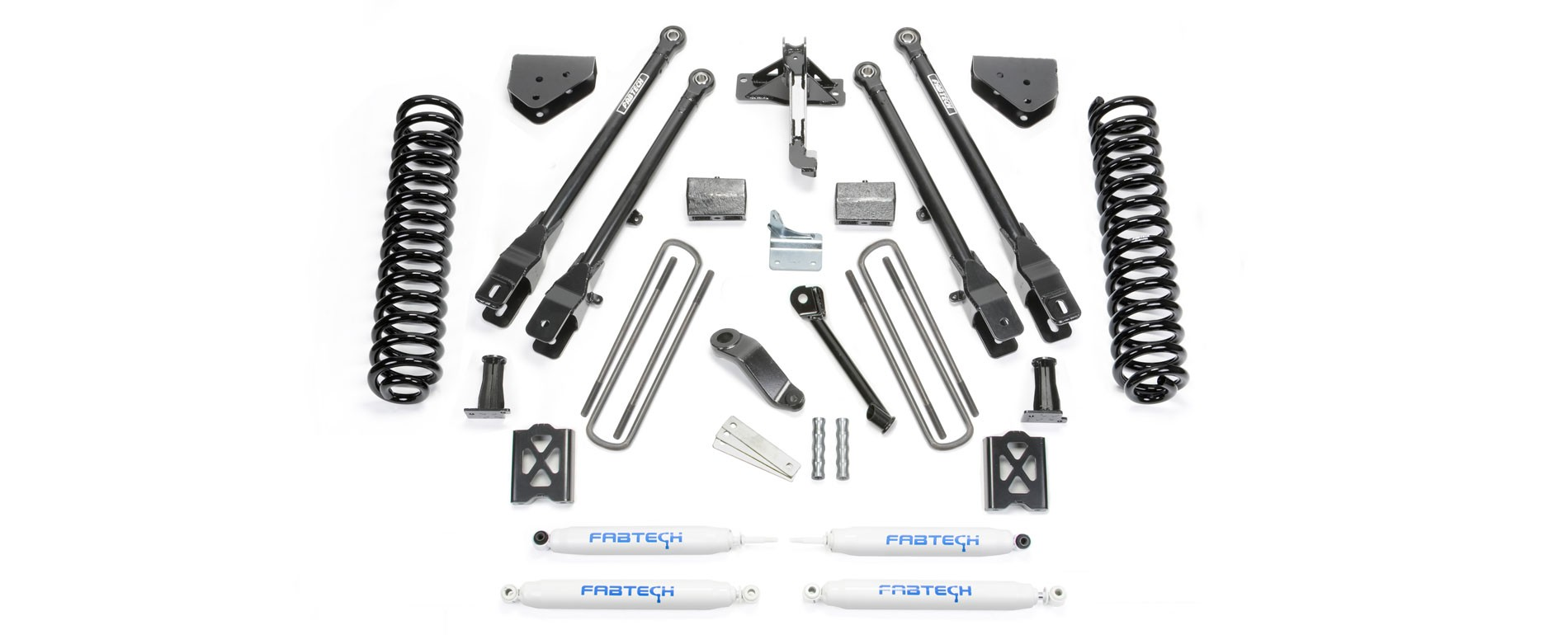 """FABTECH 2005-07   6"""" 4 Link System  - Ford F250 4WD w/ Factory Overload"""