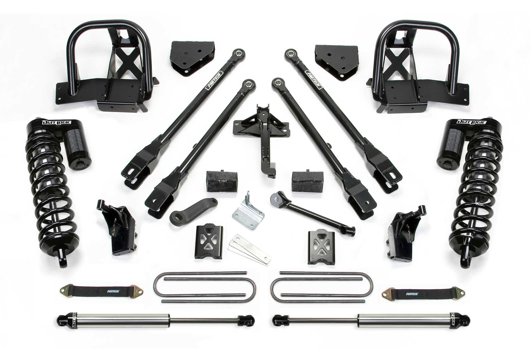 FABTECH 2008-10 Ford F250 4WD- 6″ 4 LINK SYSTEM W/ DIRT LOGIC 4.0 COILOVERS & REAR DIRT LOGIC SHOCKS
