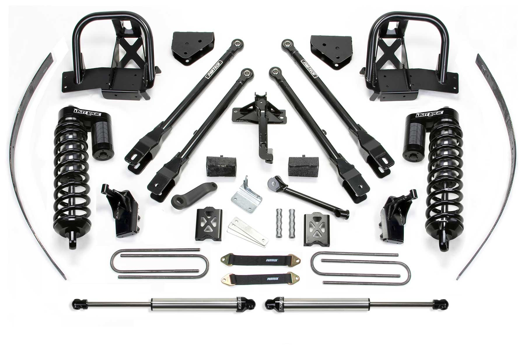 FABTECH 2008-10 FORD F250 4WD- 8″ 4 LINK SYSTEM W/ DIRT LOGIC 4.0 COILOVERS & REAR DIRT LOGIC SHOCKS
