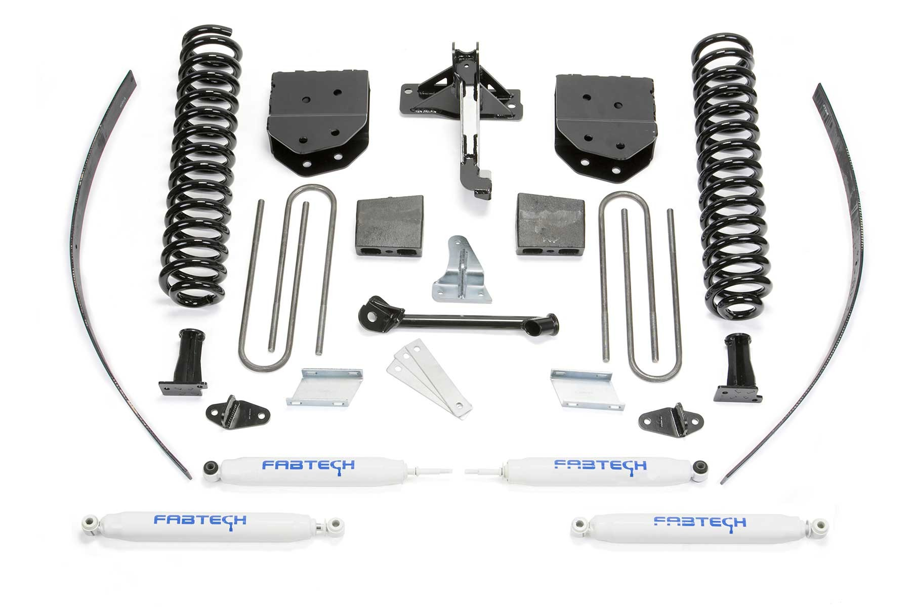 FABTECH 2008-16 Ford F250 4WD- 8″ BASIC SYSTEM SHOCKS- w/Factory Overload- Add a Leaf & Block