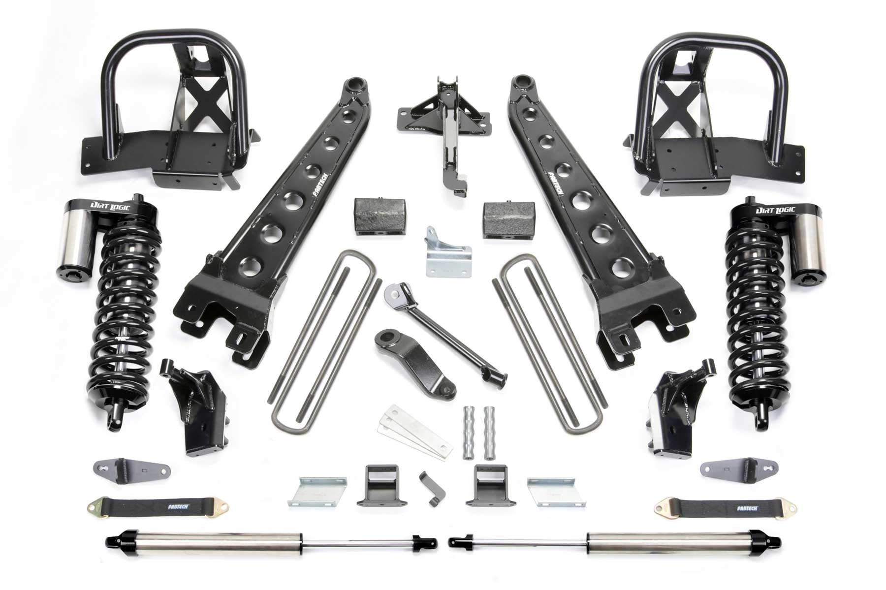 FABTECH 2011-16 Ford F250 4WD-6″ RADIUS ARM SYSTEM W/DIRT LOGIC 4.0 COILOVERS & REAR DIRT LOGIC SHOCKS