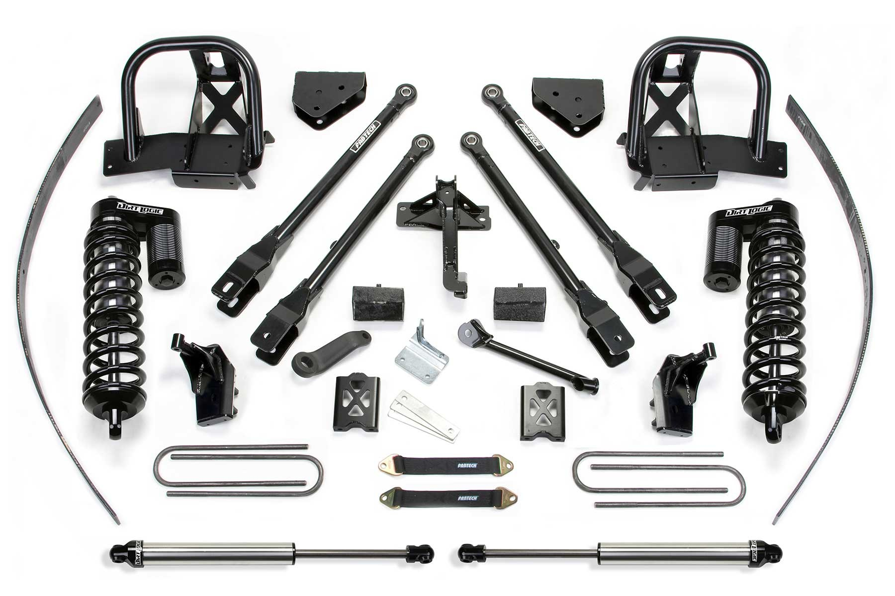 FABTECH 2011-16 FORD F250 4WD- 8″ 4 LINK SYSTEM W/DIRT LOGIC 4.0 COILOVERS & REAR DIRT LOGIC SHOCKS