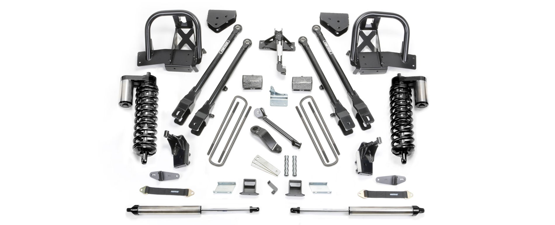 """FABTECH  2011-16  6"""" 4 Link System w/ Front Dirt Logic 4.0 Coilovers & Rear Dirt Logic Shocks - Ford F350 4WD & 2011-13 Ford F450 4WD (8 Lug)"""