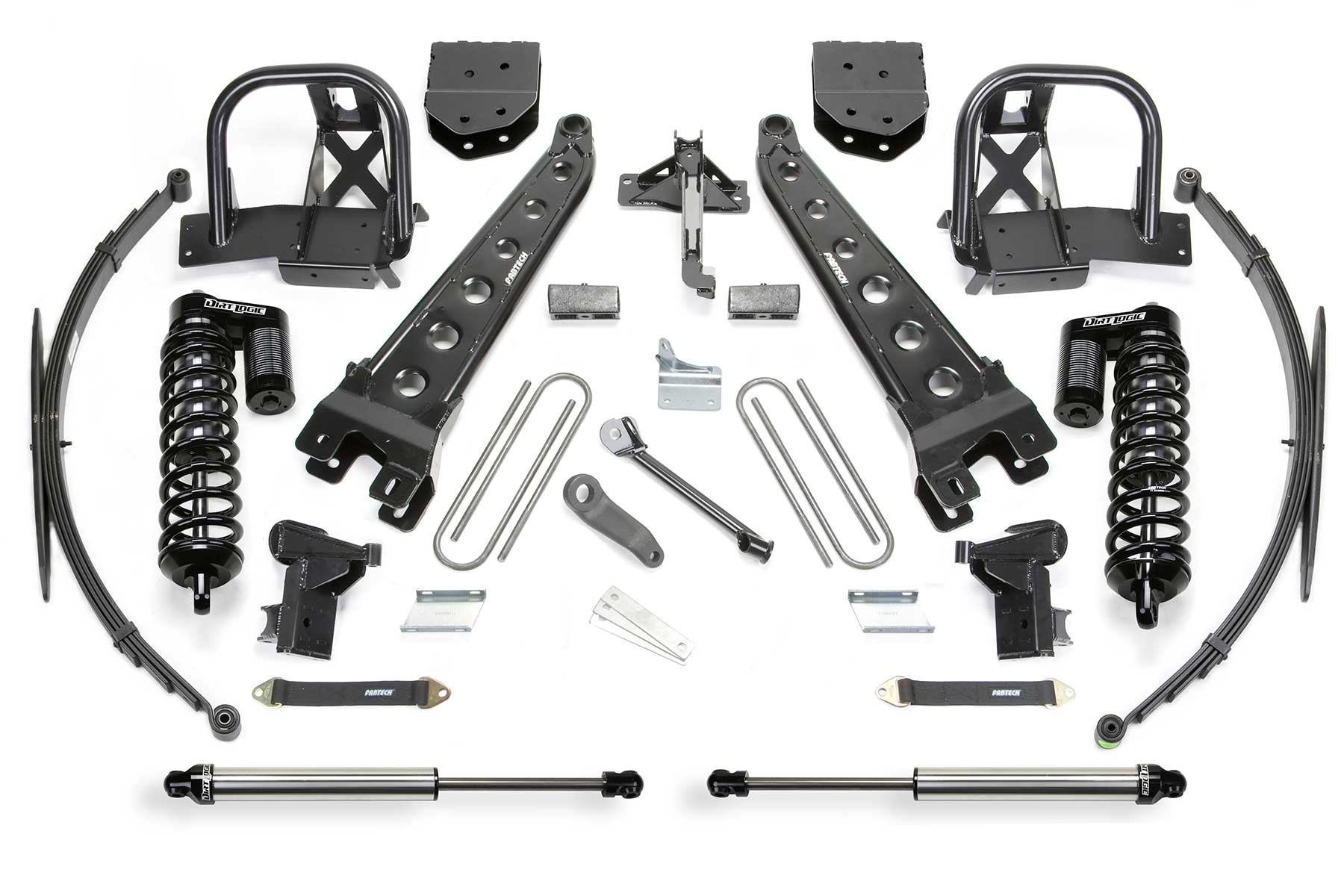 FABTECH- 2011-16 FORD F350 4WD & 2011-13 FORD F450 [8 LUG] 4WD- 10″ RADIUS ARM SYSTEM W/ DIRT LOGIC 4.0 COILOVERS & REAR DIRT LOGIC SHOCKS