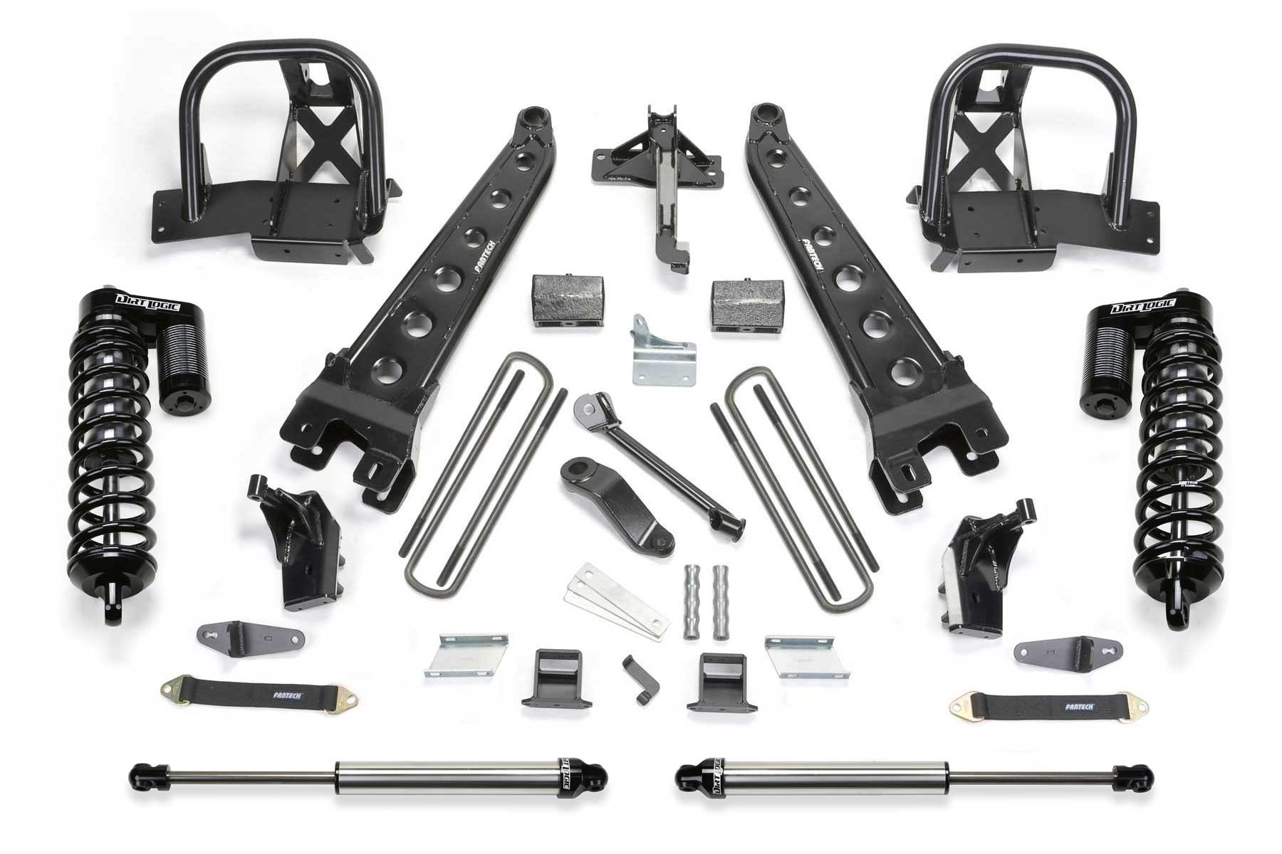 FABTECH-  2011-13 F450 / 550 4WD [10 LUG CHASSIS CAB]- 6″ RADIUS ARM SYSTEM W/ FRONT DIRT LOGIC 4.0 COILOVERS & REAR DIRT LOGIC SHOCKS