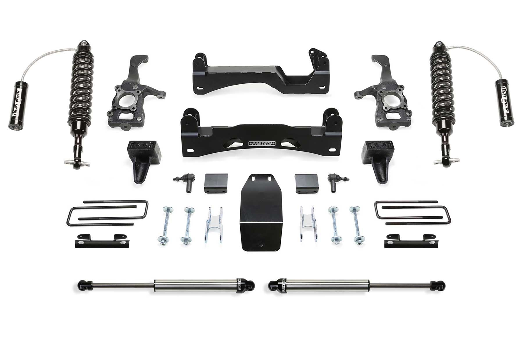 FABTECH-  2015-18 FORD F150 4WD- 6″ PERFORMANCE SYSTEM W/ FRONT DIRT LOGIC 2.5 RESI COILOVERS & REAR DIRT LOGIC SHOCKS