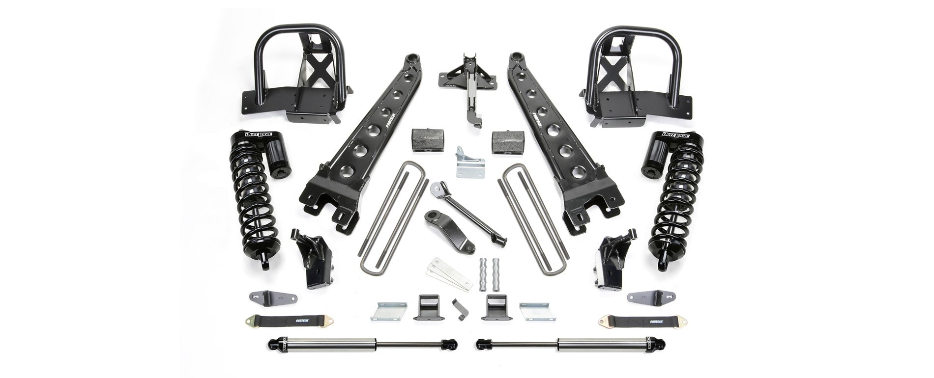 "FABTECH  2011-16  4"" Radius Arm System w/Dirt Logic 4.0 Coilovers & Rear Dirt Logic Shocks - Ford F250 4WD"