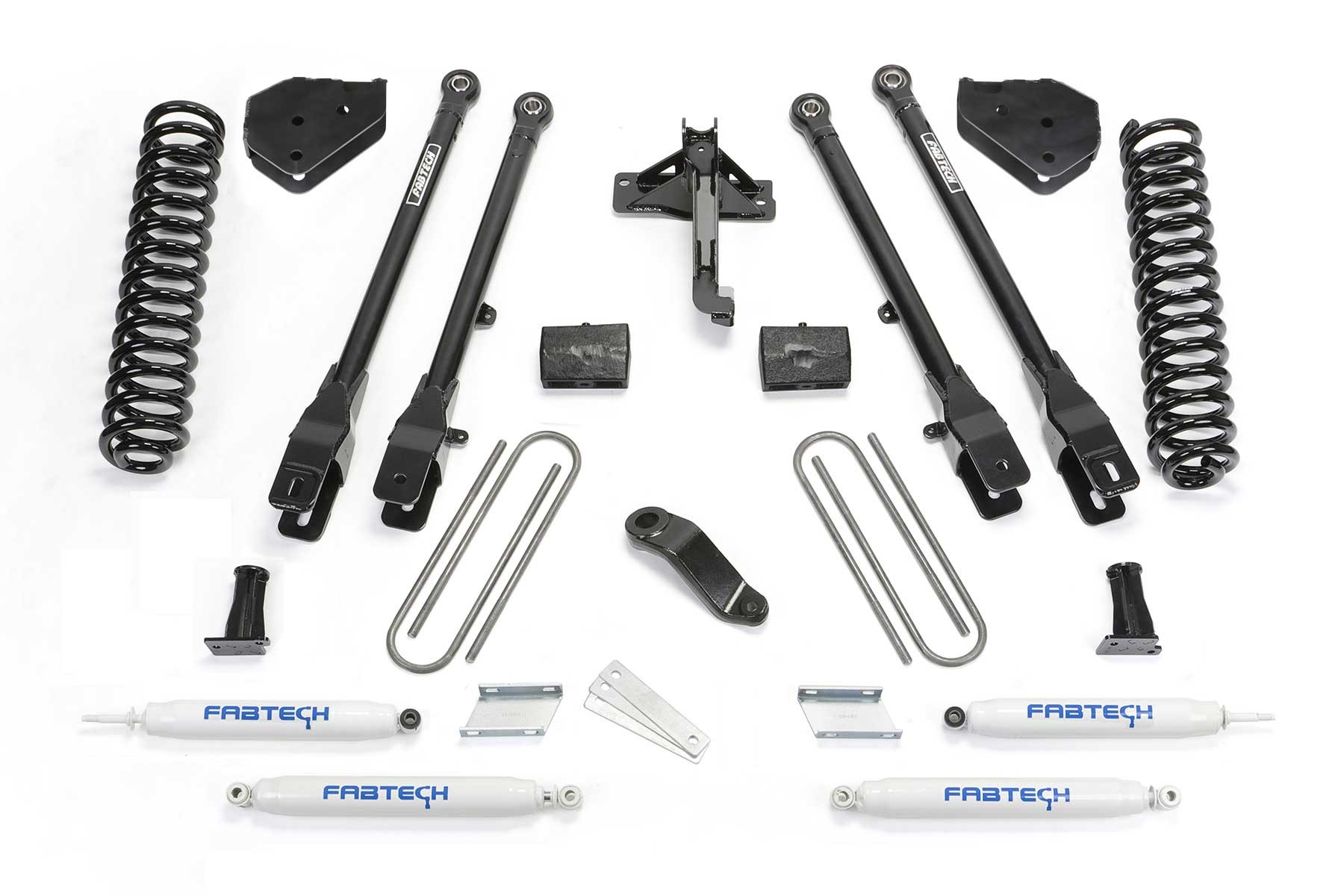 FABTECH 2017-18 FORD F250 / F350 4WD [6.2L GAS]- 4″ 4 LINK SYSTEM W/ SHOCKS
