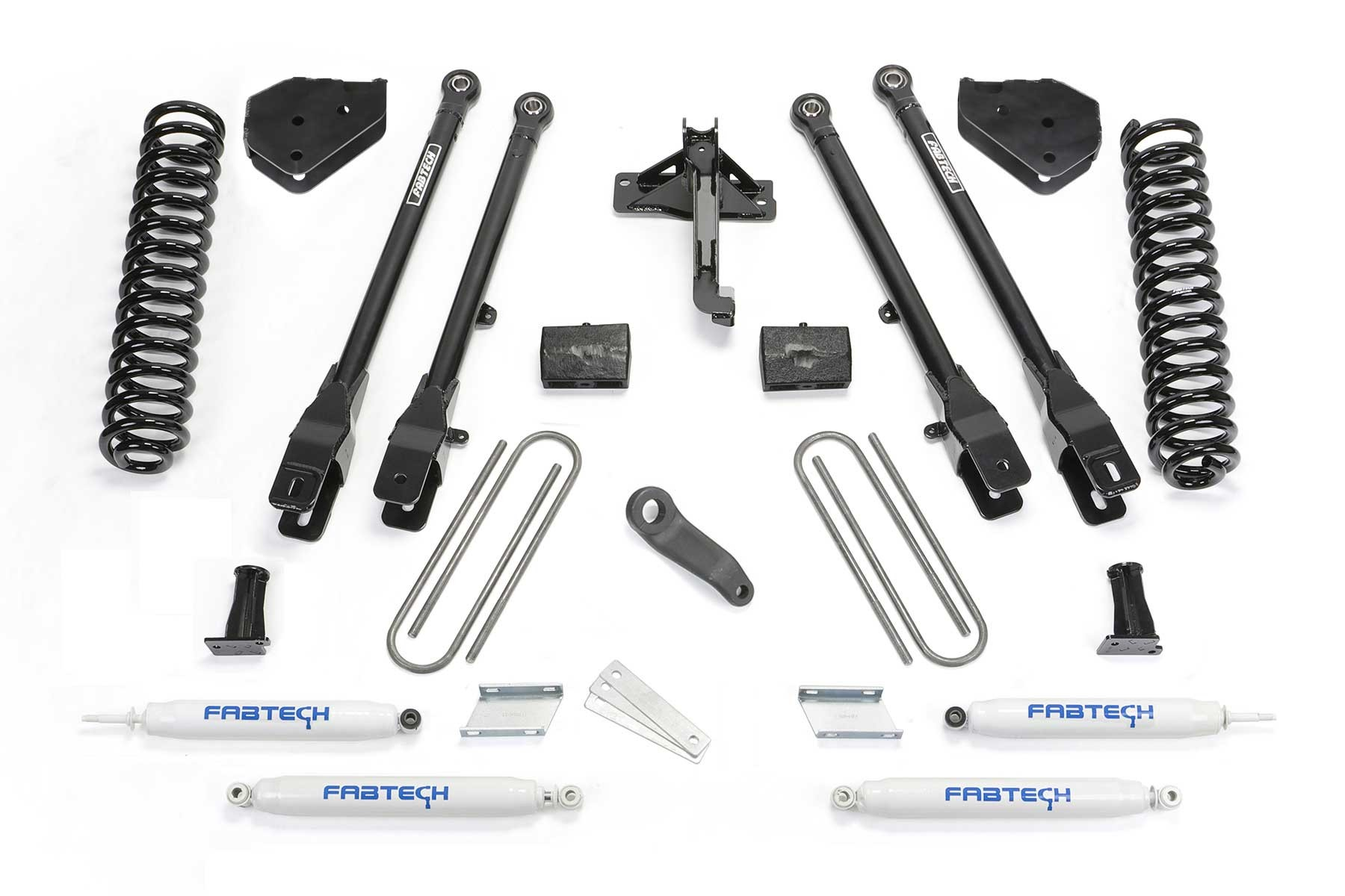 FABTECH 2017-18 FORD F250 / F350 4WD [6.2L GAS]- 6″ 4 LINK SYSTEM W/ SHOCKS