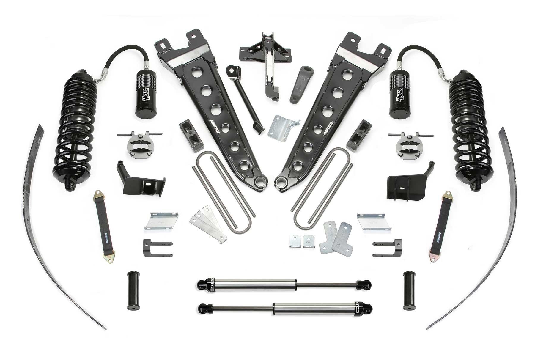 FABTECH 2011-16 FORD F250 4WD-8″ RADIUS ARM SYSTEM W/ FRONT DIRT LOGIC 4.0 RESI COILOVERS & REAR DIRT LOGIC 2.25 SHOCKS