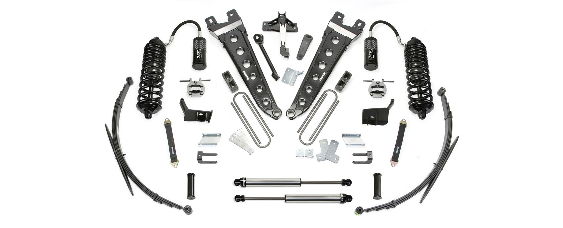 "FABTECH  2011-16  8"" Radius Arm System w/ Front Dirt Logic 4.0 Resi Coilovers & Rear Dirt Logic Shocks - Ford F250/F350 4WD"