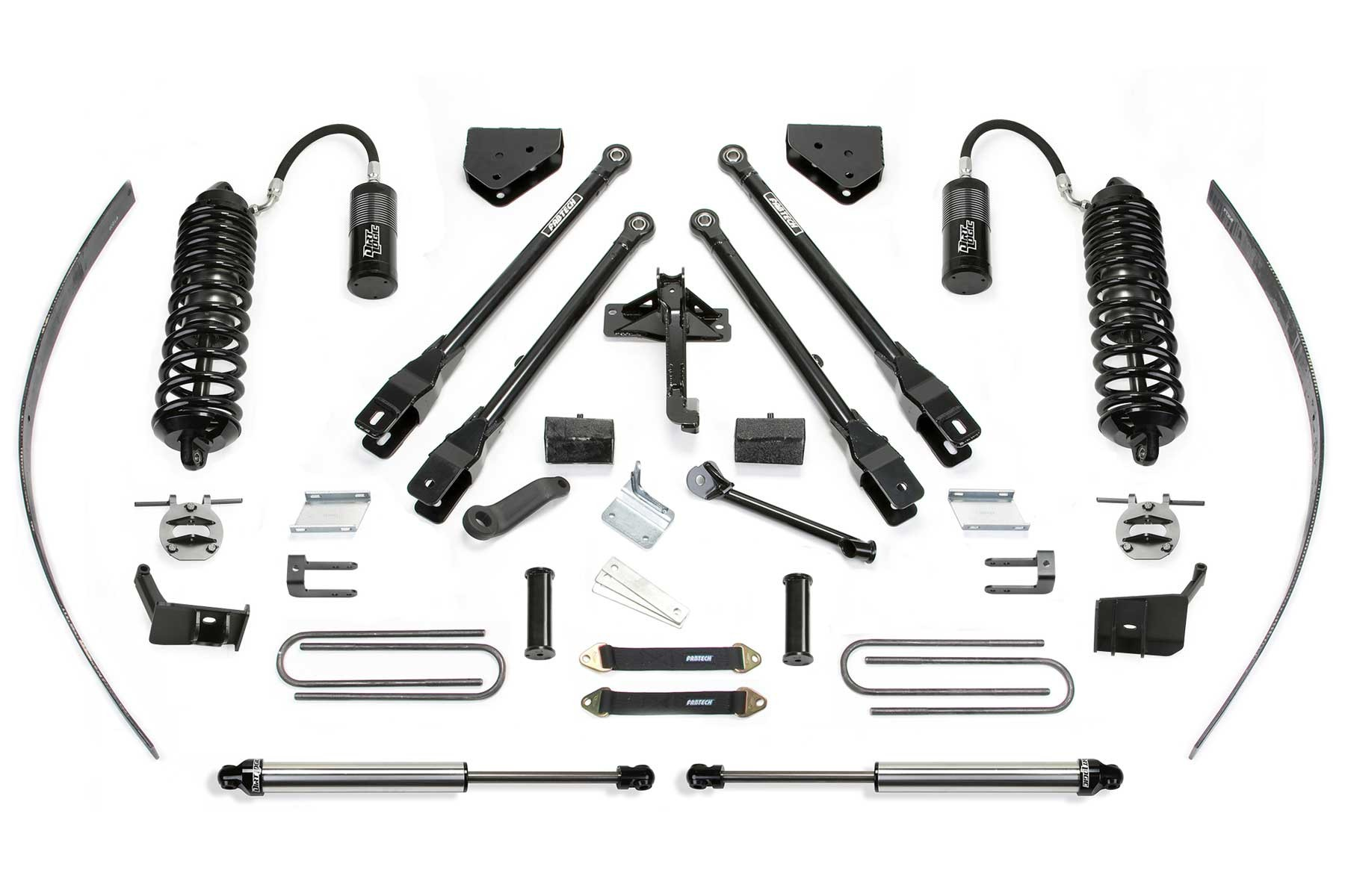 FABTECH 2011-16 FORD F250 4WD- 8″ 4 LINK SYSTEM W/ FRONT DIRT LOGIC 4.0 RESI COILOVERS & REAR DIRT LOGIC 2.25 SHOCKS