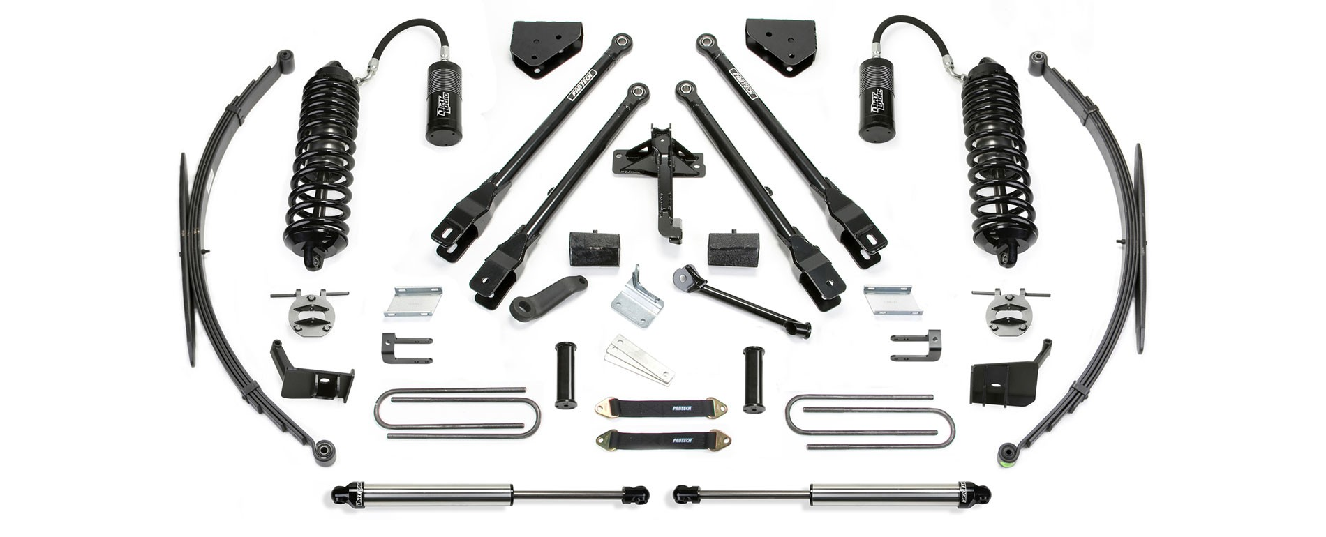 "FABTECH  2011-16   8"" 4 Link System w/ Front Dirt Logic 4.0 Resi Coilovers & Rear Dirt Logic Shocks -Ford F250/F350 4WD"