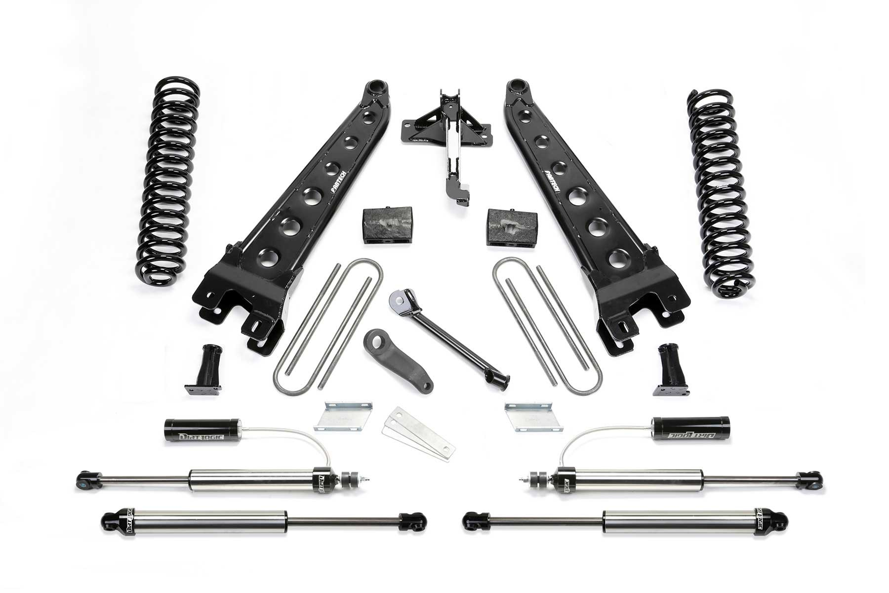 FABTECH  2017-18 FORD F250 / F350 4WD [6.2L GAS}- 4″ RADIUS ARM SYSTEM W/ FRONT DIRT LOGIC 2.25 RESI SHOCKS & REAR DIRT LOGIC SHOCKS