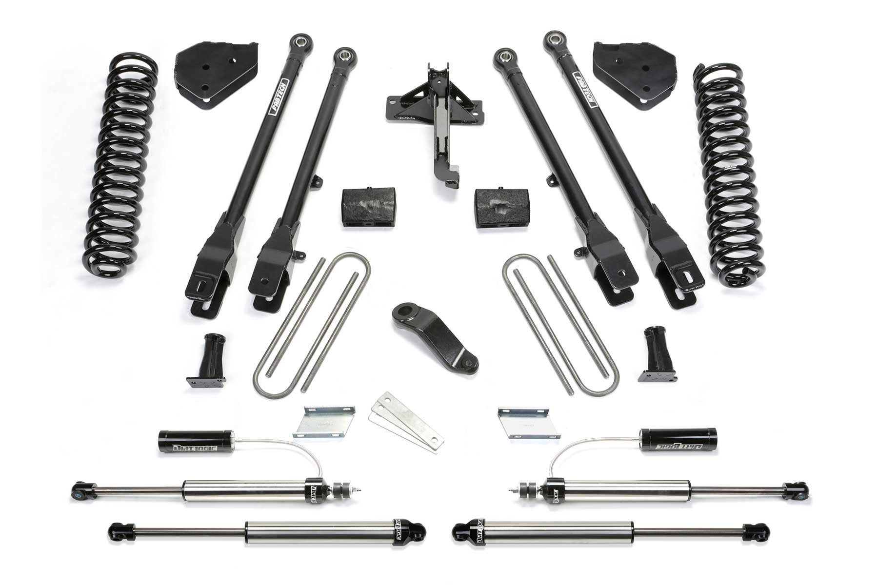 FABTECH 2017-18 FORD F250 / F350 4WD [6.2L GAS]- 4″ 4 LINK SYSTEM W/ FRONT DIRT LOGIC 2.25 RESI SHOCKS & REAR DIRT LOGIC SHOCKS
