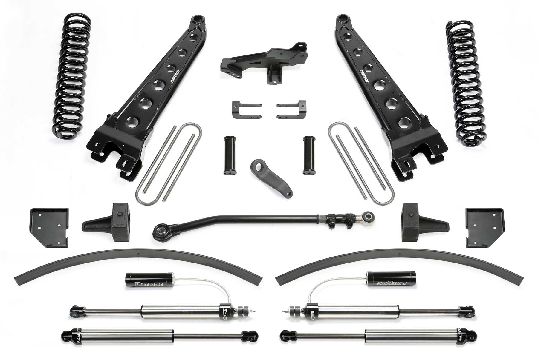 FABTECH 2017-18 Ford F250/ F350 4WD- 8″ RADIUS ARM SYSTEM W/ FRONT DIRT LOGIC 2.25 RESI SHOCKS & REAR DIRT LOGIC 2.25 SHOCKS