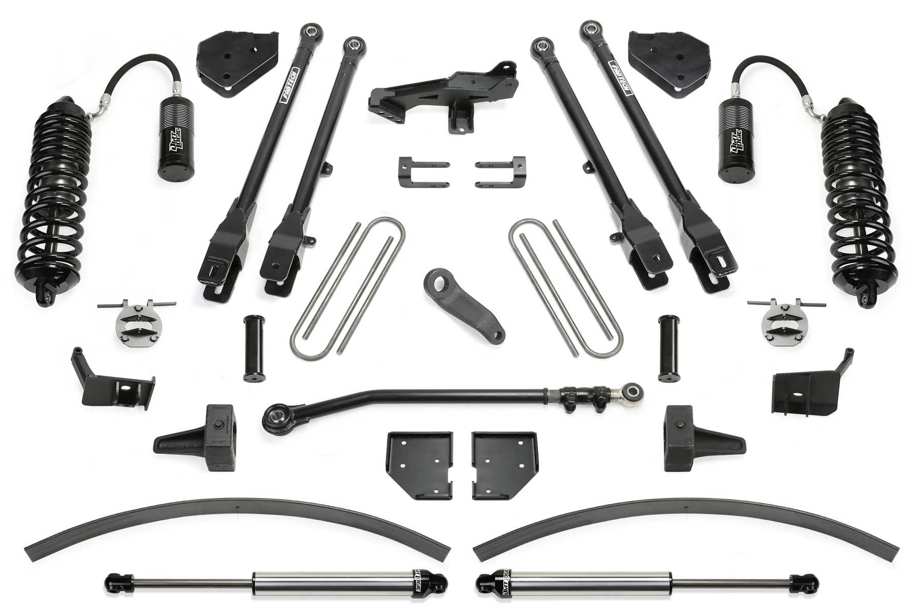 FABTECH 2017-18 Ford F250/ F350 4WD-8″ 4 LINK SYSTEM W/ FRONT DIRT LOGIC 4.0 RESI COILOVERS & REAR DIRT LOGIC 2.25 SHOCKS