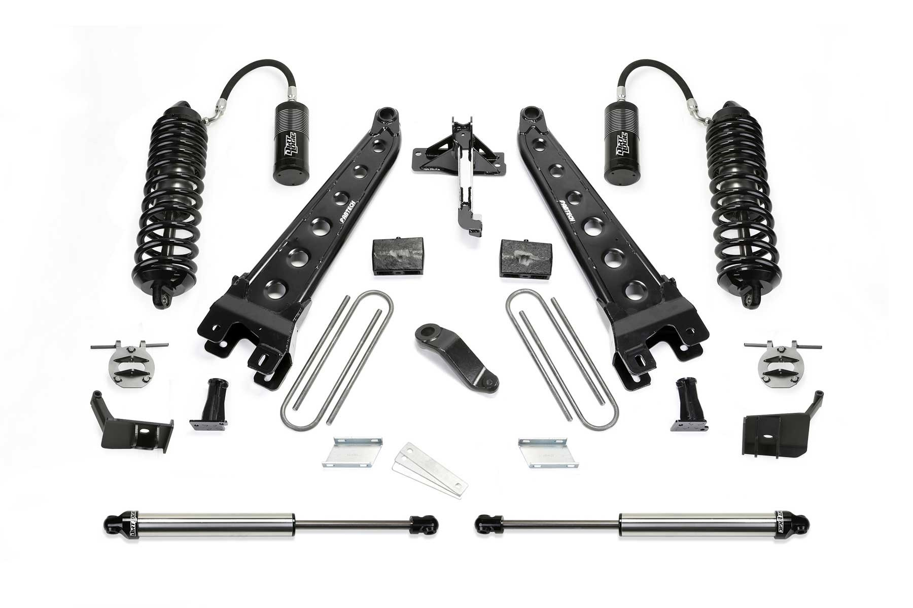 FABTECH 2018 FORD F450 / F550 4WD-6″ RADIUS ARM SYSTEM W/ FRONT DIRT LOGIC 4.0 RESI COILOVERS & REAR DIRT LOGIC 2.25 SHOCKS