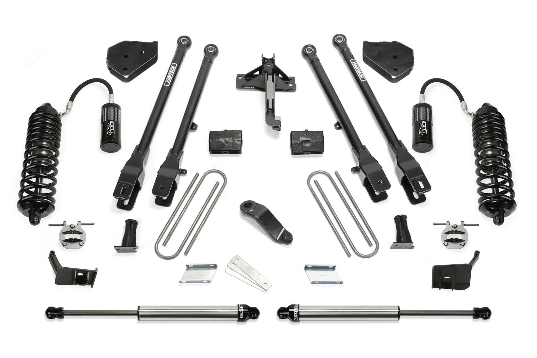 FABTECH  2018 FORD F450 / F550 4WD- 6″ 4 LINK SYSTEM W/ FRONT DIRT LOGIC 4.0 RESI COILOVERS & REAR DIRT LOGIC 2.25 SHOCKS